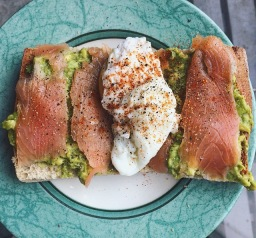 A Colourful Brunch:  Poached Egg, Avocado Toast & Smoked Salmon